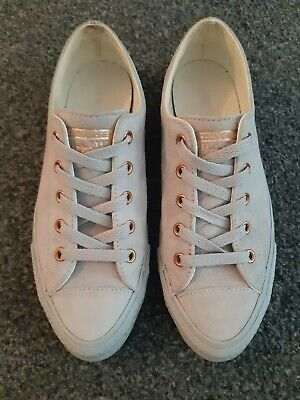 £20 • Buy Chuck Taylor Converse All Star Grey Rose Gold Suede Size UK 5 Worn Twice