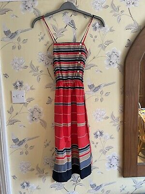 £14.99 • Buy Vintage 70s St Michael Striped Cotton Strappy Summer Dress Size 12 FREE UK P&P