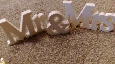 £0.99 • Buy Mr & Mrs Wooden Letters, White 3  High, Stand Up Decoration, Wedding, Lounge