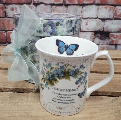 £9.99 • Buy Past Times Fine Bone China Forget Me Not Poem Cup