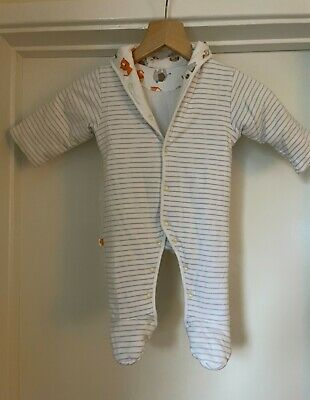 £0.99 • Buy Marks & Spencer White & Grey Stripe Pramsuit 0-3 Mnths Used In GOOD CONDITION