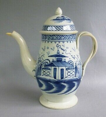 £32 • Buy Blue Painted Pearlware Coffee Pot, Pagoda & Fence Design,  C 1790's