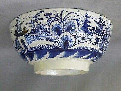 £65 • Buy Large Pearlware Blue Painted Punch Bowl, 10 Inches, C 1780's