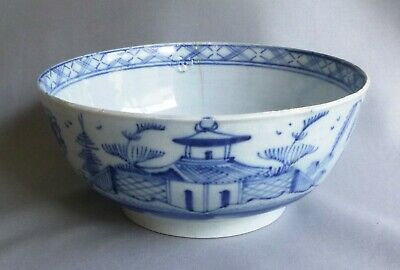 £32 • Buy Late C18th Blue Painted Pearlware 7 Inch Bowl, C 1790's Pagoda & Fence Pattern
