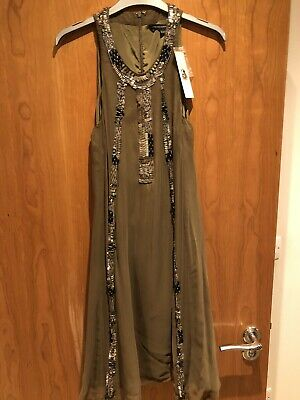 £11.10 • Buy Olive Green Sequin Beaded French Connection Size 12 Weekend Day Dress Knee