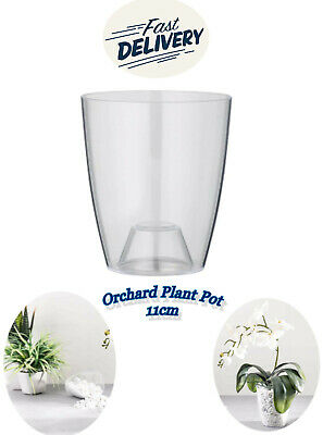 £3.59 • Buy ORCHID Flower Pot PLANT Plastic Clear Round Garden Home 11cm Ornella Greemotion