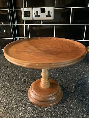 £19.99 • Buy Vintage Walnut Wood Turned Cake Stand / Plant Stand 1970s