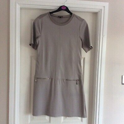 £4 • Buy New River Island Grey Faux Leather Shift Dress Size 8