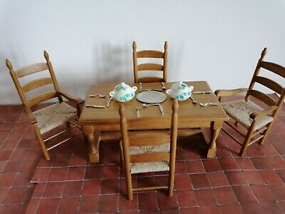 £12.75 • Buy Dolls House Light Oak Table & 4 Chairs Miniature Kitchen Dining Room Furniture.
