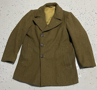 £27.48 • Buy Vtg 40's WWII OD USN Wool Work Jacket W D Pockets Rare Small W Canvas Liner