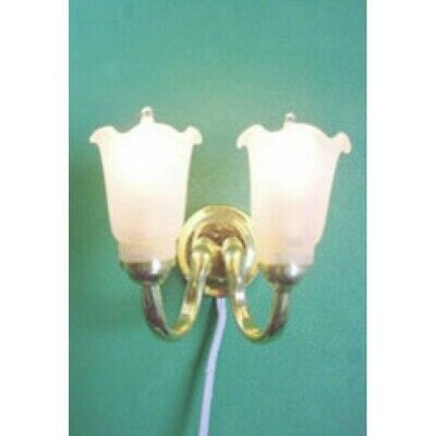 £6.50 • Buy DOLLS HOUSE Lighting 12 Volt TWIN TULIP WALL LIGHT FROSTED SHADE WL005