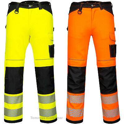 £29.99 • Buy Portwest Two Way Stretch Fit Hi Vis Work Trousers Flexible Pants FREE KNEE PADS