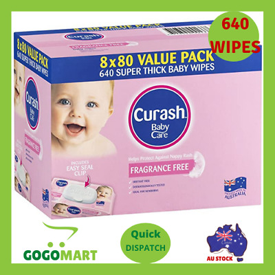 AU18.60 • Buy Curash Babycare Baby Wipes 640 Pack - Fragrance Free   FREE SHIPPING