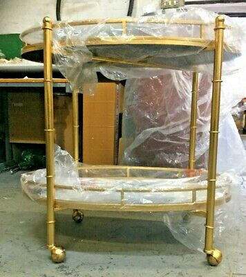 £300 • Buy Two Tier Gold Antique Drinks Serving Trolley On Wheels With Mirrored Shelves