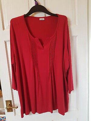 £4.49 • Buy Damart Womens Long Sleeved Red Stretch Tunic Top Ladies Uk Plus Size 26-28. Vgc