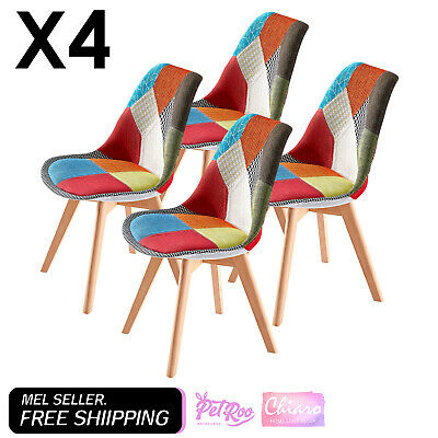 AU346.90 • Buy 4 X Retro Replica Fabric Padded DSW Beech Dining Chairs Cafe