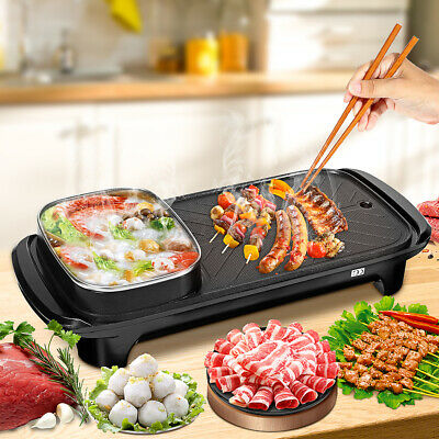 AU35.99 • Buy Electric 2 In 1 BBQ Oven Hot Pot Barbecue Grill Non Stick Smokeless Pan