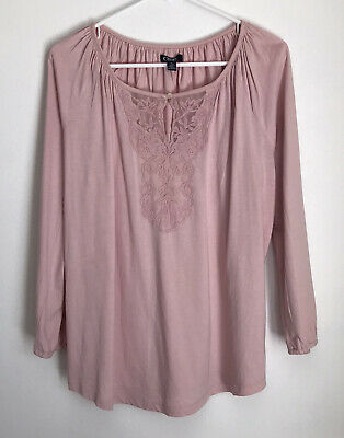 £10.17 • Buy Chaps Womens M Shirt Pink Peasant Top Tee Lace Detail Long Sleeve