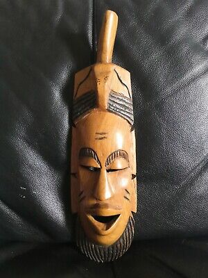 £12.50 • Buy Vintage Adzed Tribal Mask Handmade Wall Hanging African Handcrafted