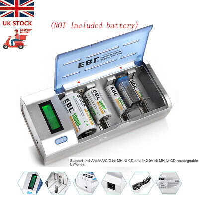 £10 • Buy EBL Universal Smart LCD Charger For 9V AA AAA C D Ni-MH/Cd Rechargeable Battery