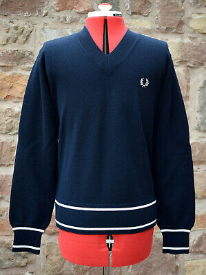 £95 • Buy NEW 2006 ITALIAN MADE FRED PERRY MERINO WOOL V-NECK SWEATER Pullover Cabourn