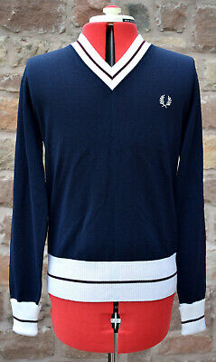 £95 • Buy NEW 2006 FRED PERRY DARK NAVY MERINO WOOL V-NECK SWEATER Jumper Pullover Cabourn
