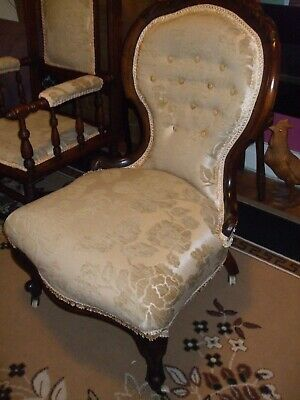 £95 • Buy Antique Victorian Carved Button Back Nursing Chair. Newly Upholstered.