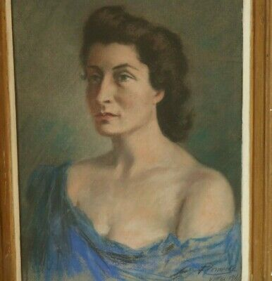 £55 • Buy 1940s WWII Vintage Pastel Portrait Painting Of A Woman French / German, Signed