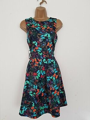 £8.99 • Buy Warehouse Black Butterfly Print Fit & Flare Tea Dress Size 10 Women's Holiday