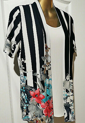 £3.99 • Buy FOREVER By Michael Gold Striped Floral Jersey Cardigan Blouse Top Size L 14 - 16