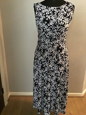 £9.99 • Buy Jessica Howard Midi Dress Size 14 Used In Black With White Flowers