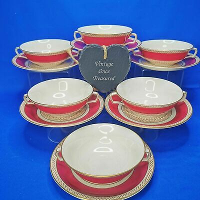 £32.50 • Buy SAMPSON BRIDGWOOD * 6 SOUP COUPES & STANDS (A3635) Vintage 1930s Maroon Gold GC