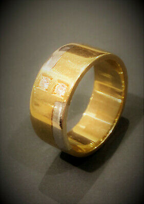 AU798 • Buy Men's Diamond Ring Solid Yellow And White Gold Hand Made With Diamonds CHEAP!