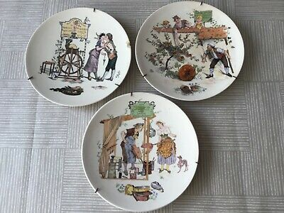 £19.99 • Buy A Collection Of 3 French Faience Story Plates By Froment-richard 1905-1910