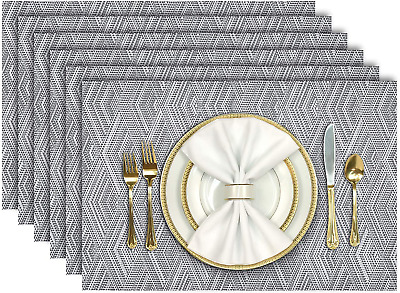 AU18.77 • Buy Placemats For Dining Table Set Of 6 Heat Resistant Place Mats Washable PVC NEW