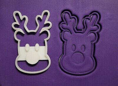 AU8.95 • Buy Reindeer Christmas Cookie Cutter And Embosser, Fondant Stamp, 2piece, 3D Printed