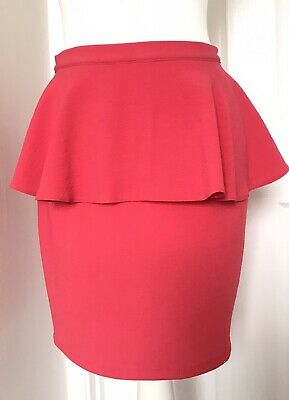 £3.49 • Buy Topshop Pink Fitted Peplum Skirt Size UK 8 VGC