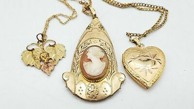 £7.70 • Buy Gold Filled Shell Cameo Locket Grape Leaves Necklace Lot TS970