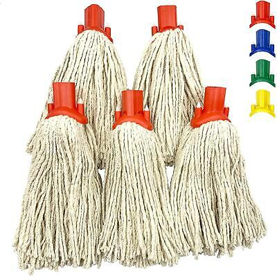 £8.99 • Buy 5x Cotton Mop Heads Replacement Floor Multi Fit Heavy Duty Cleaning Kitchen Red