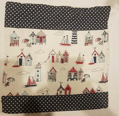£4.75 • Buy  Cushion Cover Beach Hut/ Nautical/ Seaside Fabric.Great Condition. FREE POSTAGE