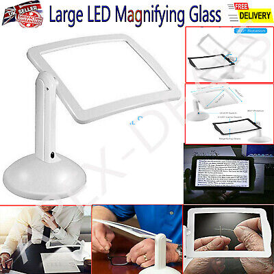 £7.95 • Buy Large LED Magnifying Glass Stand With Light Lamp Hands Magnifier Foldable Clamp