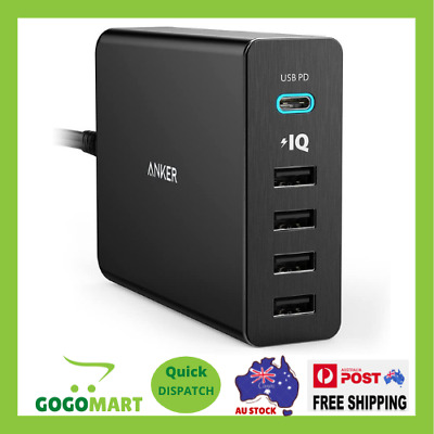 AU74.75 • Buy Anker USB Type-C 5-Port 60W Wall Charger Powerport+ 5 USB-C With Power Delivery