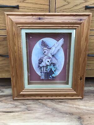 £14 • Buy Large Vintage Decorative Barn Owls 3D Decoupage Wall Picture In Wooden Frame