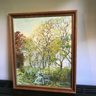 £29 • Buy Old Vintage French Oil Painting Canvas Arnaud Savary Lady In Landscape Framed Aa