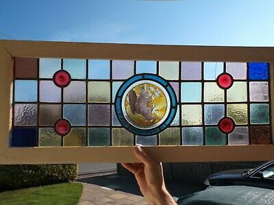 £75 • Buy Rectangular Stained Glass Window Panel With Squirrel Image 745mm X 270mm