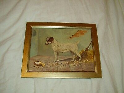 £39.99 • Buy Small Dog In A Barn ,original Oil Painting Portrait, Signed Henry Percy