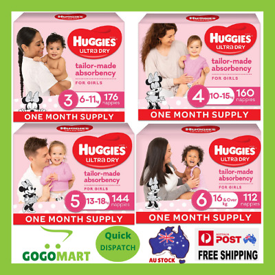 AU58.90 • Buy Huggies Ultra Dry Nappies, Girls   Various Sizes   FREE SHIPPING