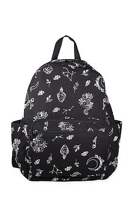 £36.99 • Buy Black Gothic Punk Floral Glow In The Dark Canvas Hemera Backpack BANNED Apparel