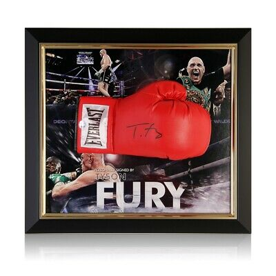 AU994 • Buy Tyson Fury Signed Red Boxing Glove. Framed