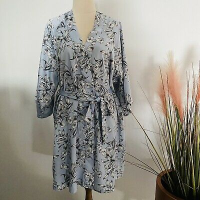 AU20 • Buy BRAS N THINGS Blue Floral Front Tie Dressing Gown Robe Kimono Size S AU 8-10
